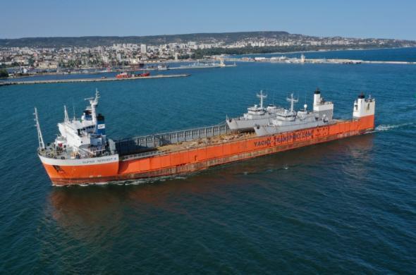 Heavy Lift Super Servant 4 unloaded the minehunters in the Port Varna